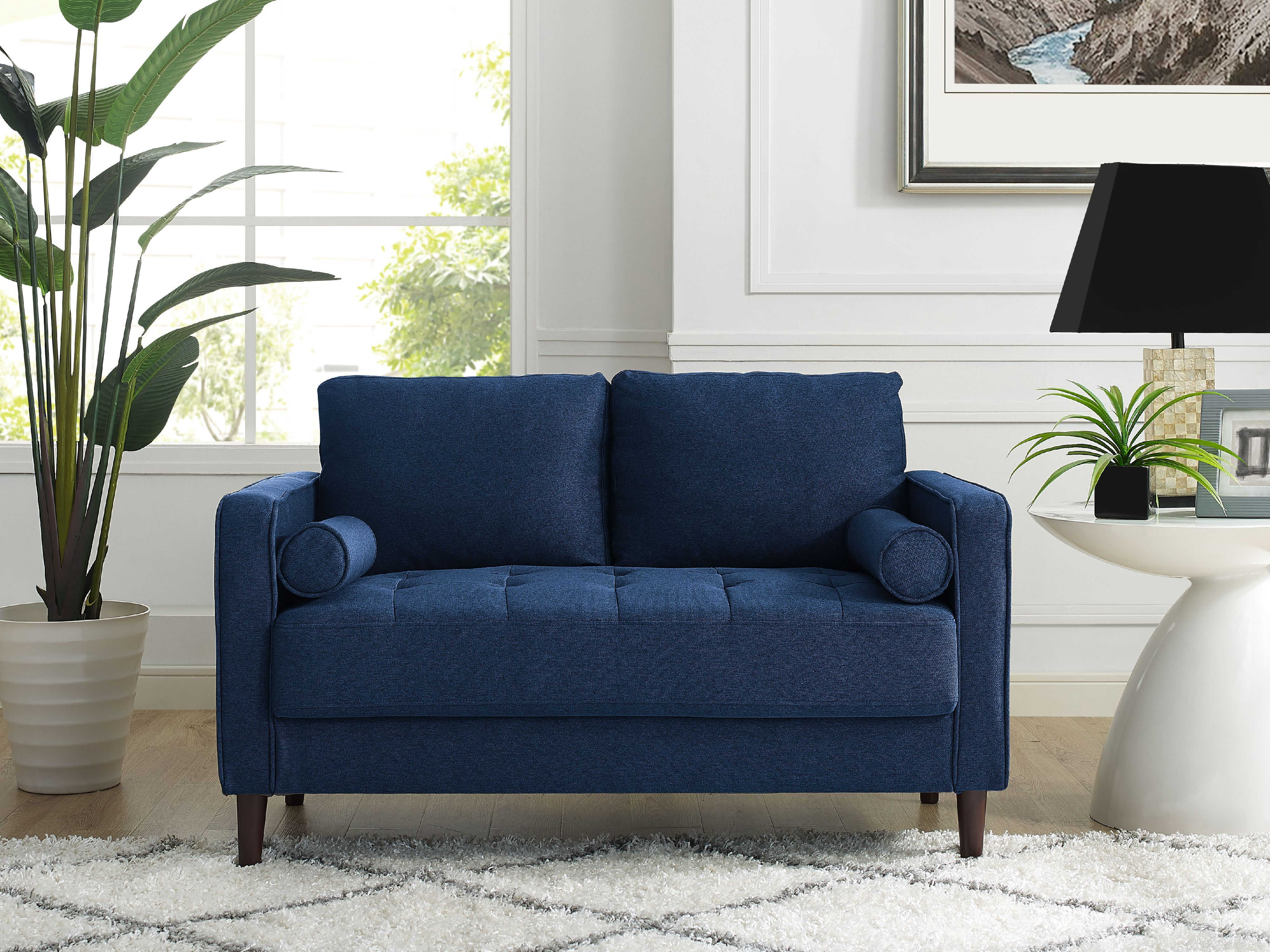 Lifestyle Solutions Lorelei Loveseat With Upholstered Fabric And Eucalyptus Wood Frame Navy Blue Walmart Com Small Couch In Bedroom Loveseat Living Room Loveseats For Small Spaces