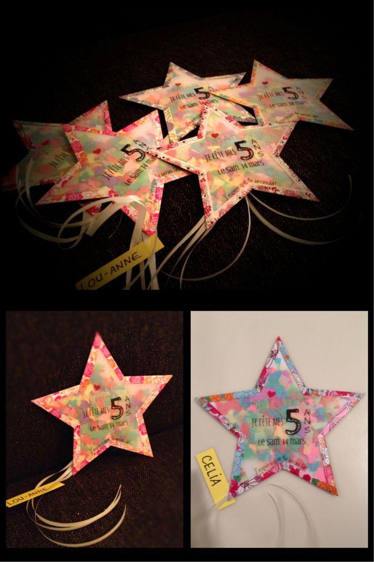 Photo of Birthday invitation girl star DIY DIY tracing paper, masking tape, confetti