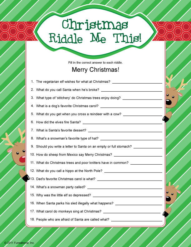 Adult Christmas Party Game Ideas Part - 43: Activities · Christmas Riddle Me This!