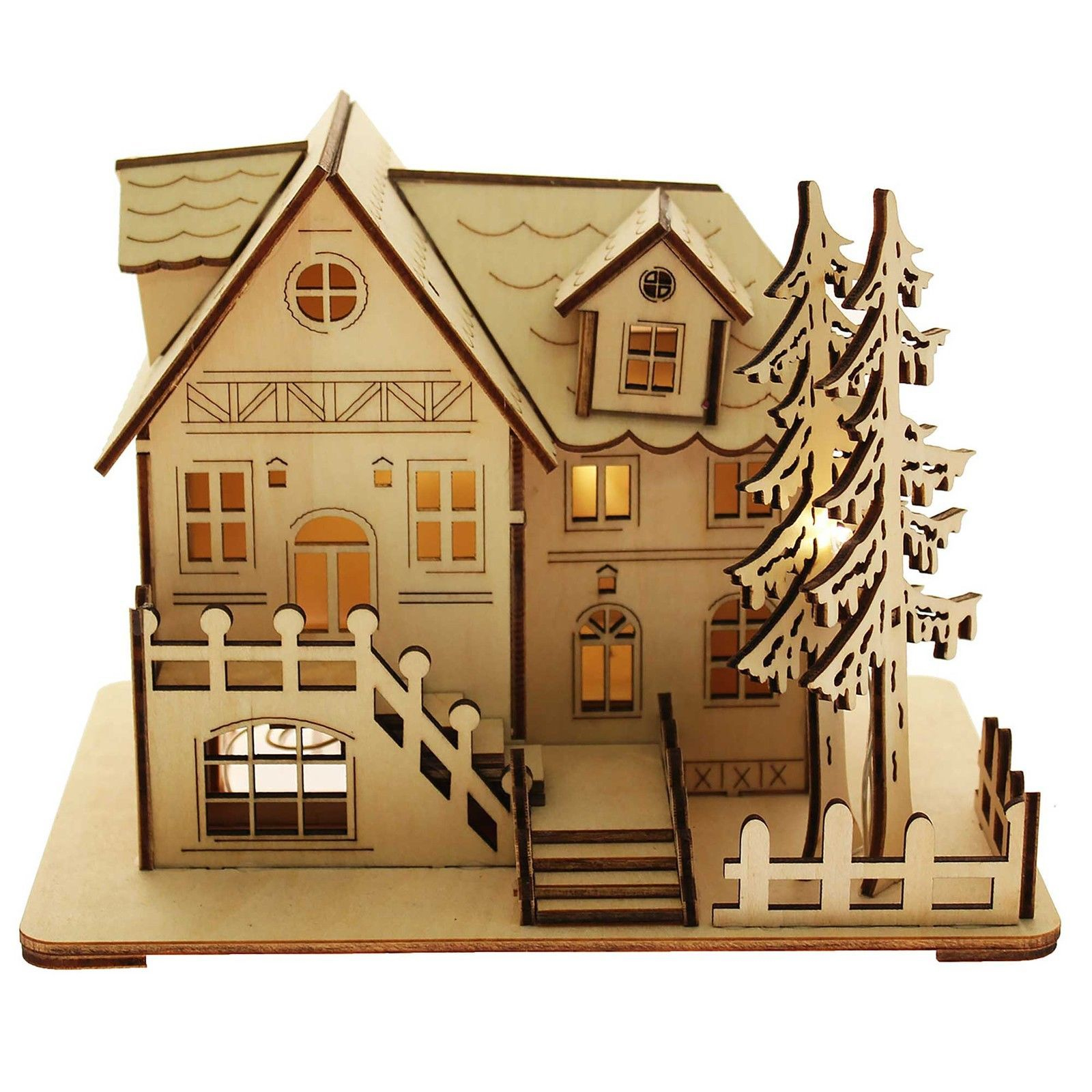 German christmas decorations wooden - Christmas House Led Decoration 2