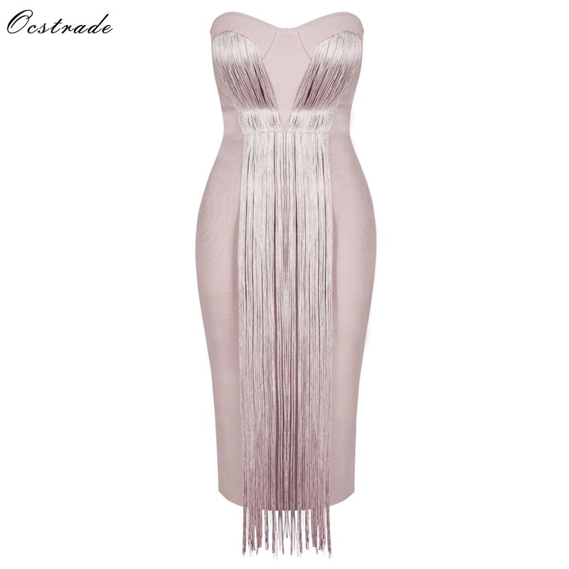 2018 Sexy Bodycon PU Sashes Dress Strapless Celebrity