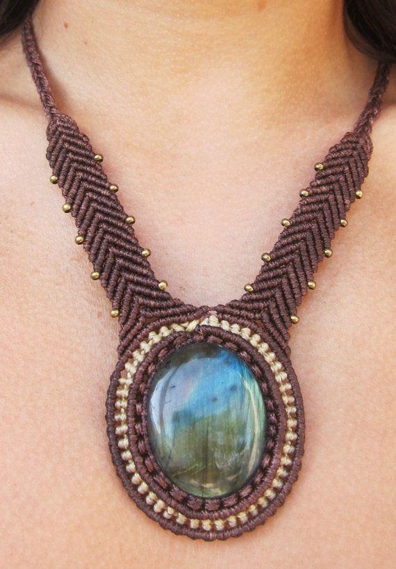 macrame necklace with labradorite by Rommymacrame on Etsy