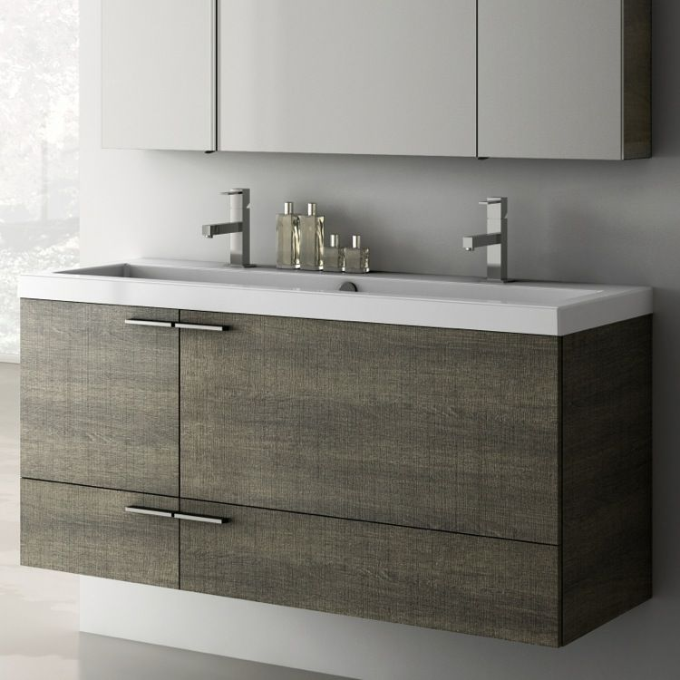 Double Trough Style Sink Bathroom Vanity Wall Mounted Available
