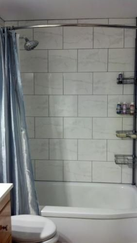 10x13 Horizontal Orientation Staggered Wall Tile But Use White Grout Not A Fan Of The Dark Grout Bathroom Decor Beautiful Wall