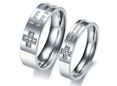 Christian Titanium Steel Wedding Bands Wholesale Cross Promise Rings Couple Rings Com Promise Rings For Couples Christian Wedding Rings Diamond Engagement Ring Set