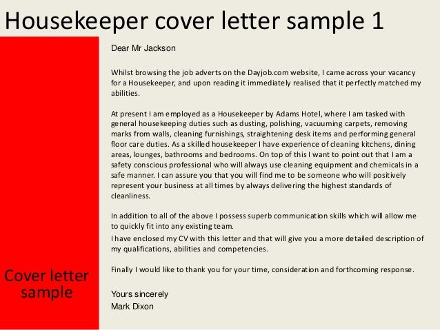 resume hospital housekeeper cover letter and example examples - housekeeping cover letter