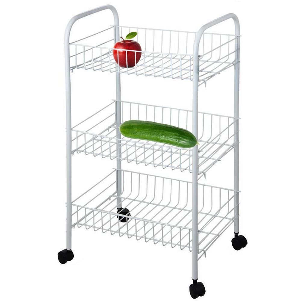 3 Tier Vegetable Fruit Storage Rack Trolley Cart Kitchen Stand With Wheels Home Furniture Diy Cookware Dining Fruit Storage Kitchen Stand Storage Rack