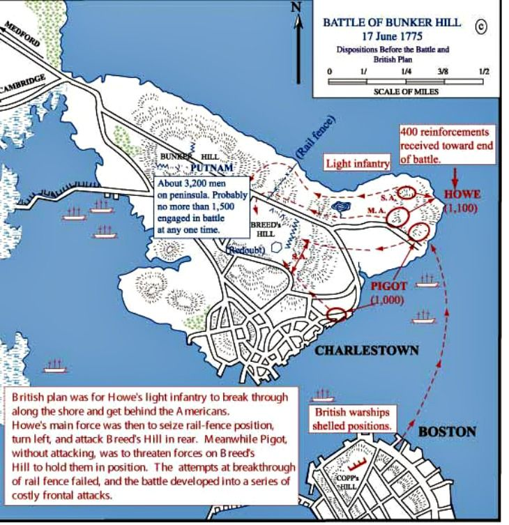a map of the battle of bunker hill during the american