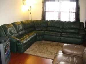 LEATHER SECTIONAL /COUCH DARK GREEN : green sectional couch - Sectionals, Sofas & Couches
