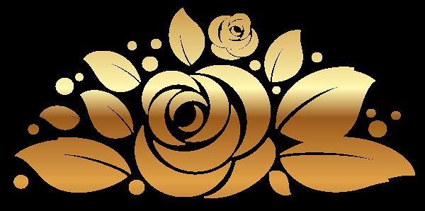 Gold Rose Decor PNG Clipart Picture (600 x 298 Pixel)