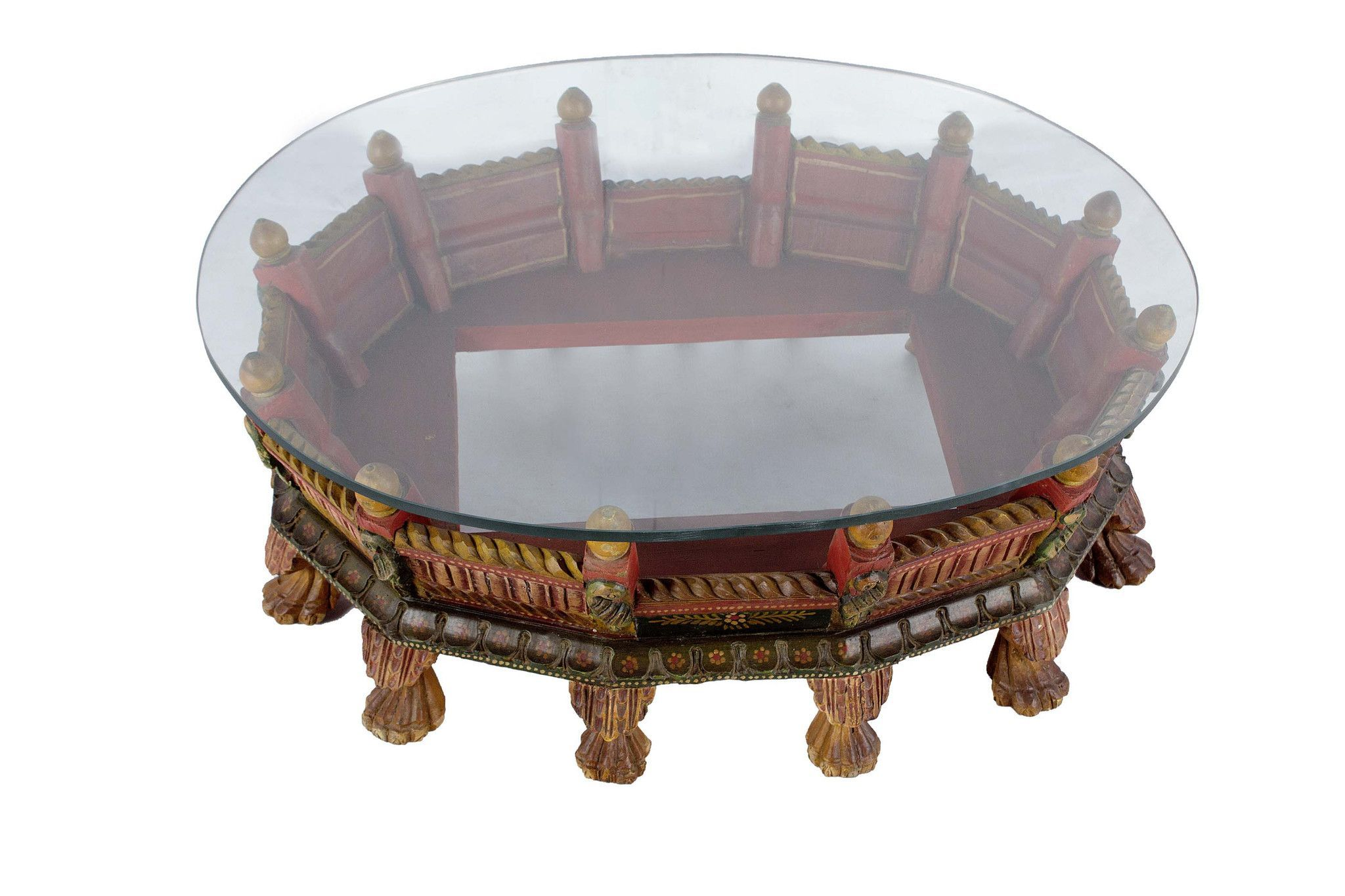 Beautifully hand carved artistically designed round coffee table