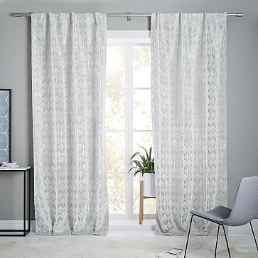 Geo Tile Flocked Curtain + Blackout Panel, Frost Gray, 48 - vorhänge wohnzimmer bilder