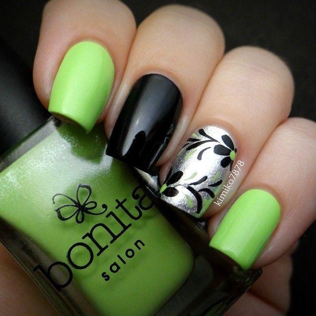 uñas decoradas negras con verde - Buscar con Google   Diseño de uñas ...