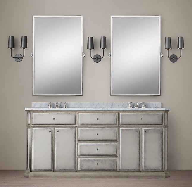 1930s French Mirrored Double Vanity | Double vanity ...
