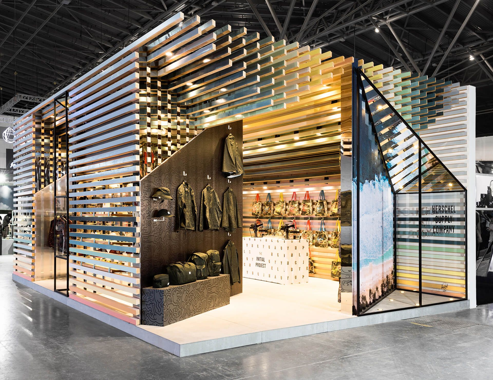 Exhibition Stand Wood : Porous wooden cube by linehouse captures canadian