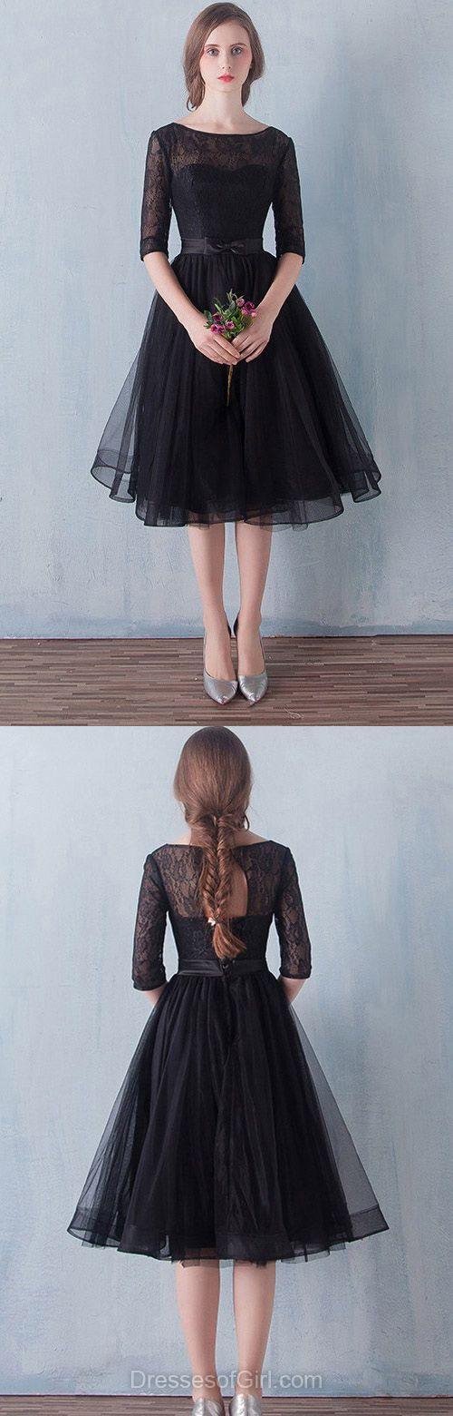 Aline Prom Dress, Short Prom Dresses, Black Homecoming Dress, Lace ...