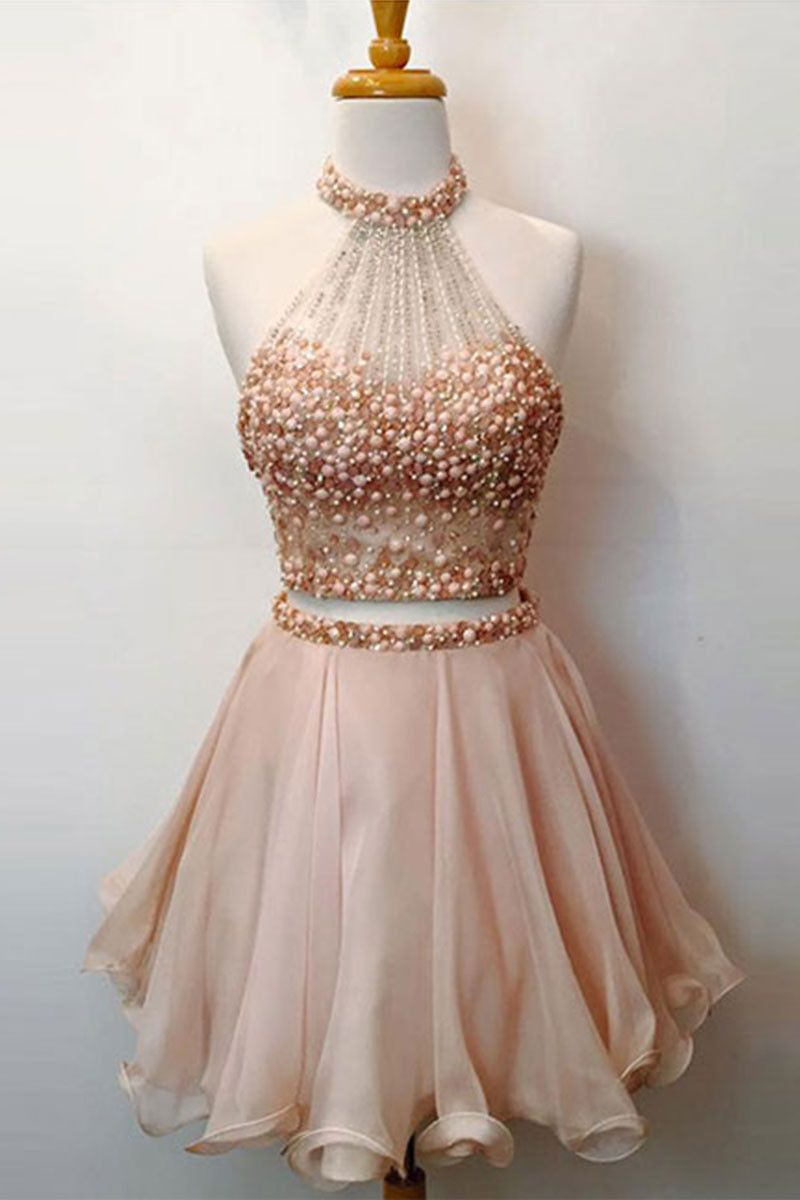 Pink Two Pieces Short Prom Dress Cute Pink Homecoming Dress Halter Homecoming Dress Homecoming Dresses Short Piece Prom Dress [ 1200 x 800 Pixel ]