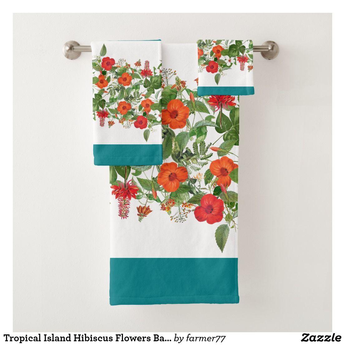 Tropical Island Hibiscus Flowers Bath Towel Set Zazzle Com