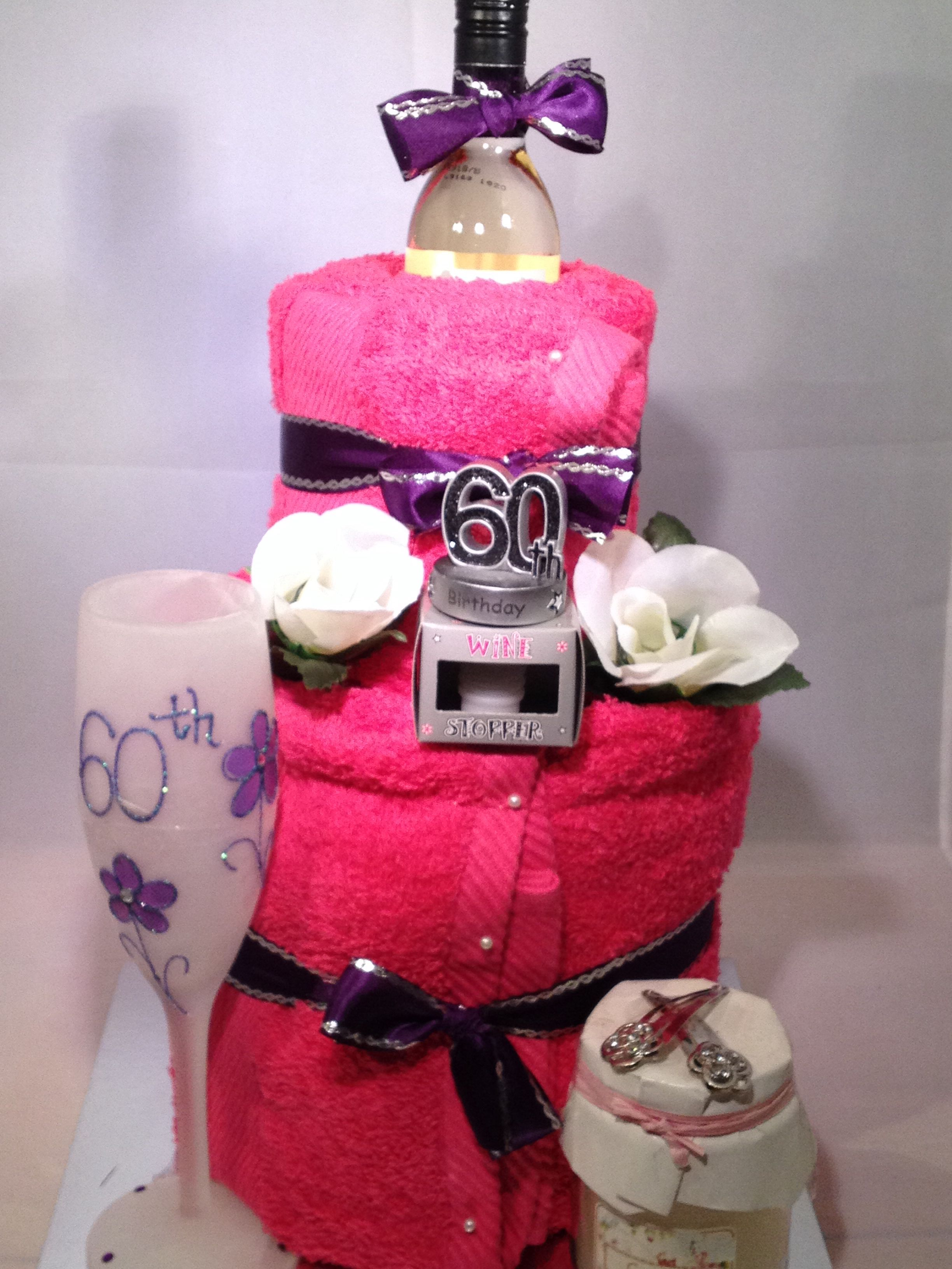 Great 60th Birthday Towel Cake With A Bottle Of Wine 60