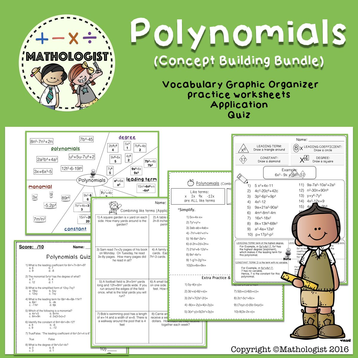 Polynomials Algebra Classifying Combining Like Terms