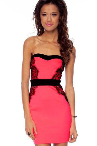 Vena Laced Strapless Dress in Neon Pink