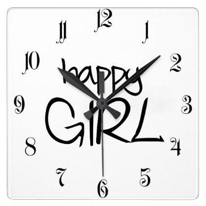Happy girl square wall clock