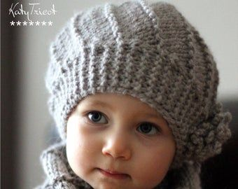 Photo of Hand Knit Toddler Kids Slouchy Hat and Cowl Scarf Set in Neutral Wheat, Toddler Girls Boys Knitted Slouch Beanie and Infinity Scarf Set