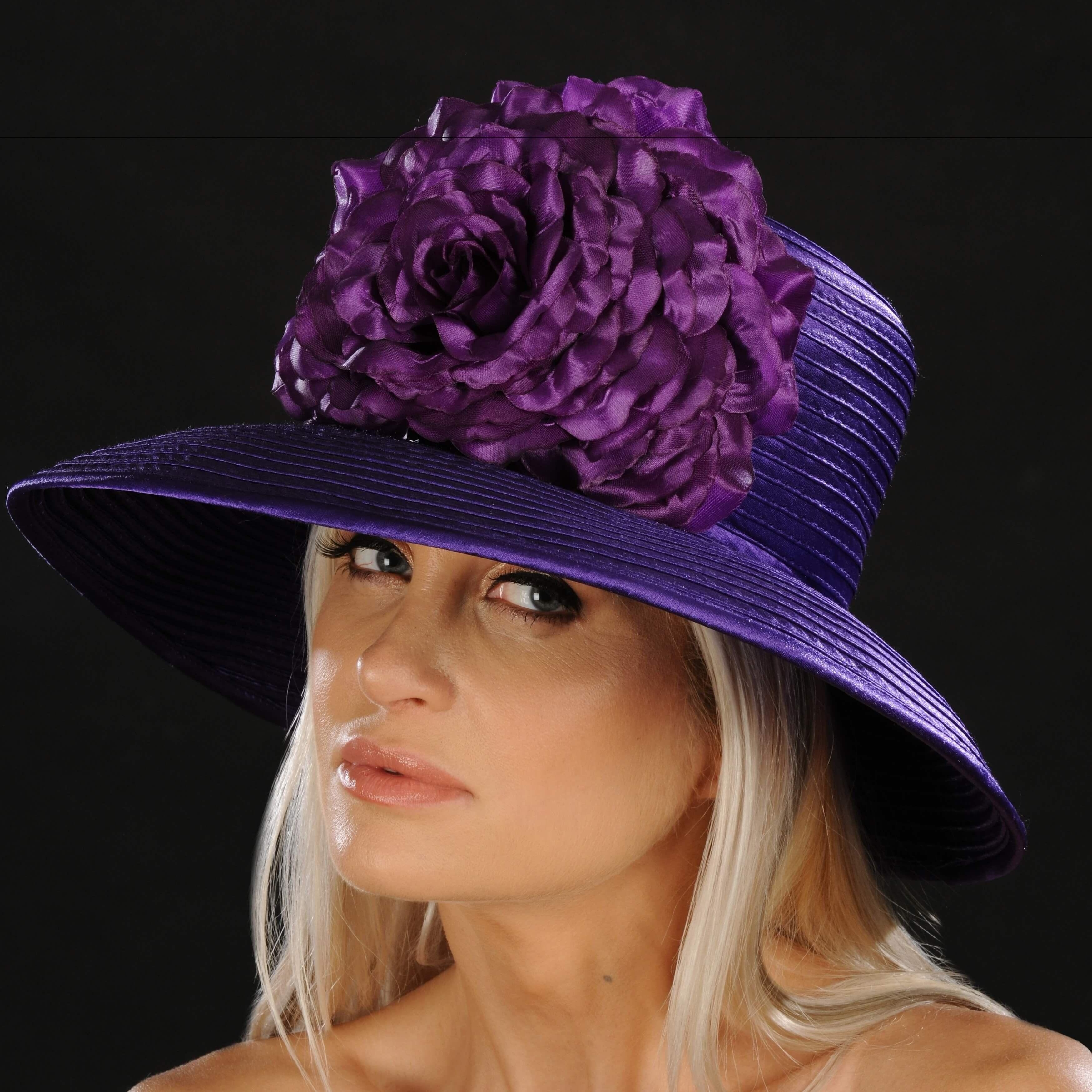 NA1056- Purple satin dress hat for ladies  3bc128c4ca08