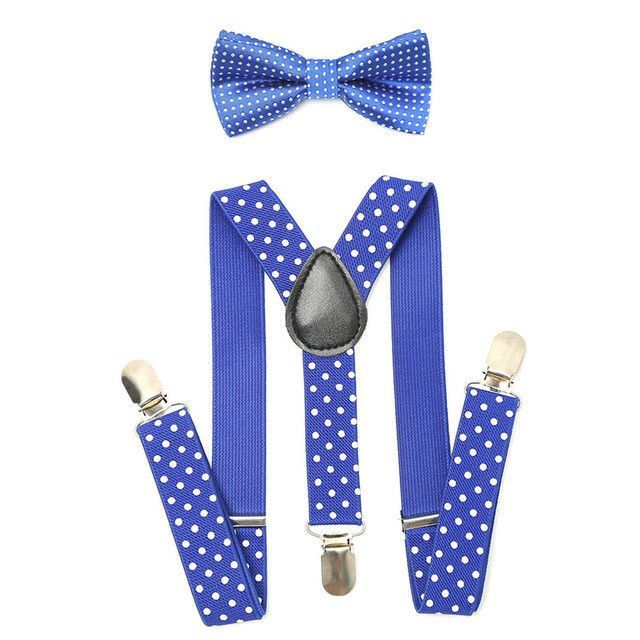 Matching Clip-on Suspender Bowtie for Kids Toddler Boys Girls w// Gift Box Pink