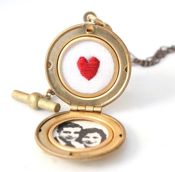 Vintage Style Red Heart Locket Necklace, hand embroidered, round locket by stellasavestheday in Etsy