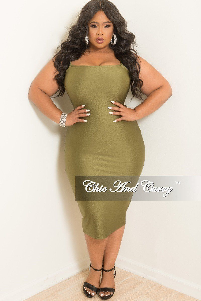 Plus Size Sleeveless Spaghetti Strap Bodycon Dress In Olive Chic And Curvy Trendy Cocktail Dresses Bodycon Dress Spaghetti Strap Bodycon Dress [ 1200 x 801 Pixel ]