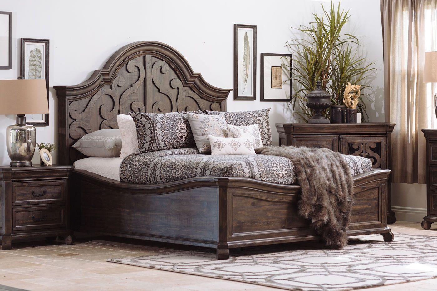 Magnussen Home Bellamy Peppercorn King Shaped Panel Bed Panel Bed Bedroom Furniture Beds Bed Furniture
