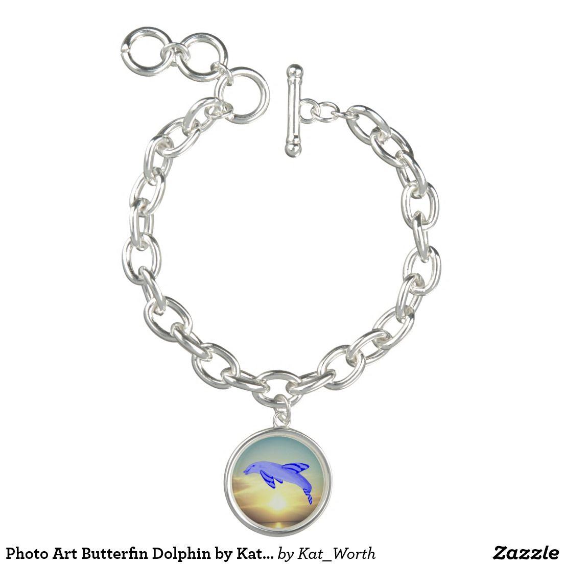 Photo art butterfin dolphin by kat worth charm bracelet