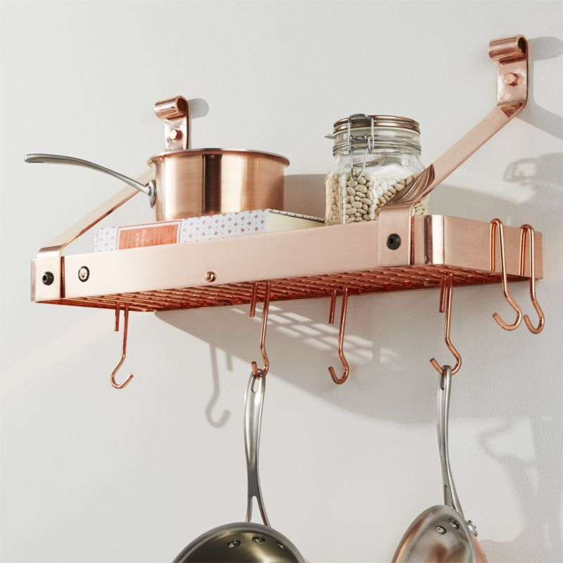 Kitchen Inspo Totally Obsessed Enclume Copper Bookshelf Pot Rack Copper Home Accessories Pot Rack Hanging