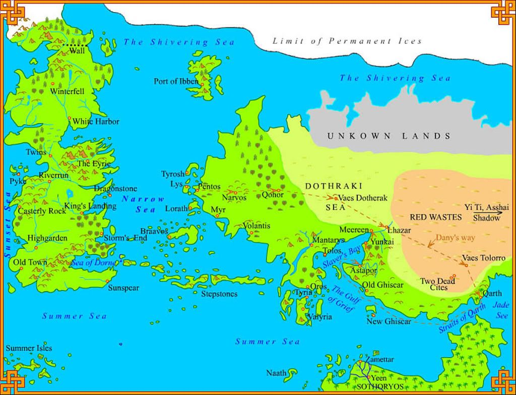 Game of thrones maps get to know your way around the seven books world map game of thrones gumiabroncs Image collections