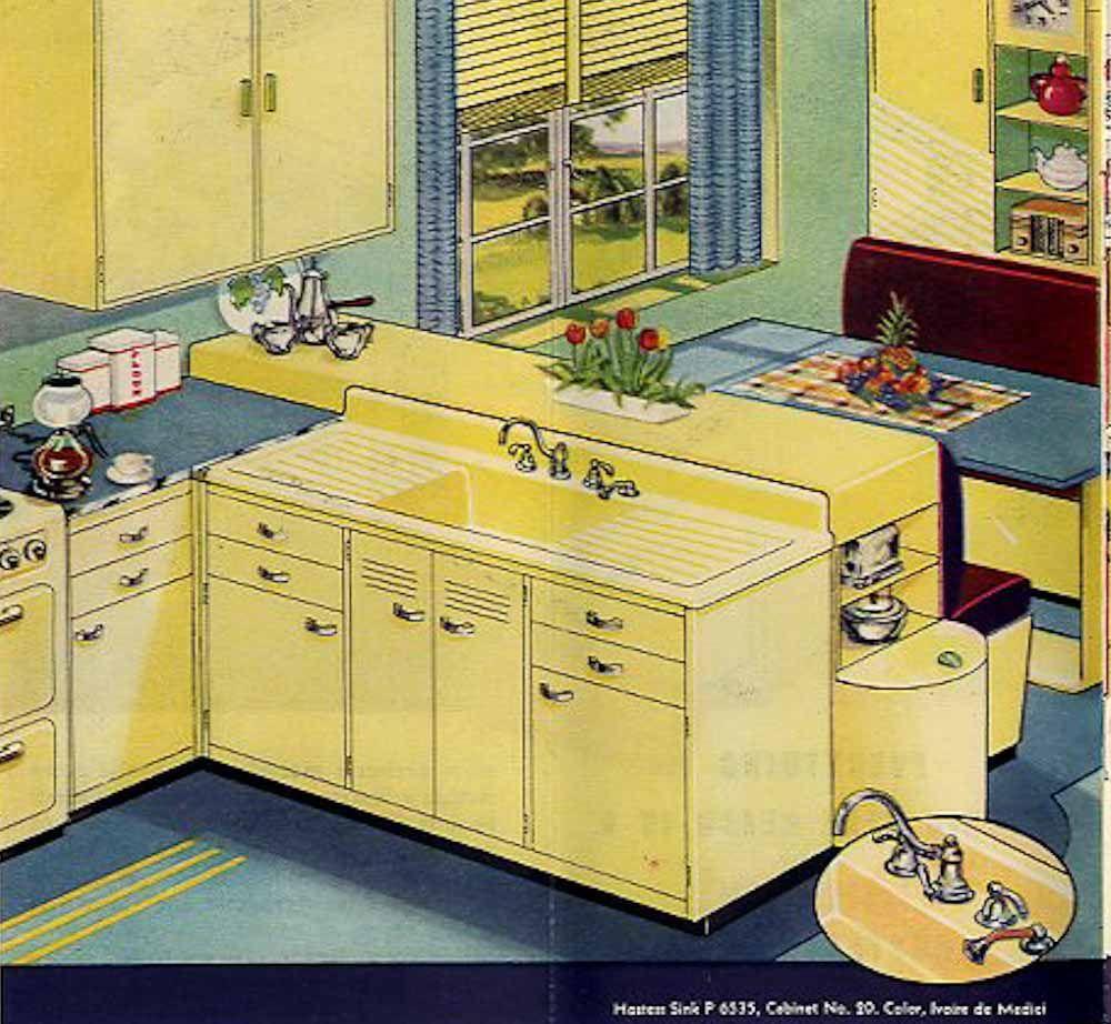 Gelb Küchen, Retroküchen, Traumküchen, 1940er Küche, Vintage Küchen, Retro  Renovierung, Vintage Einrichtungen, Küchenfarben, Helle Farben