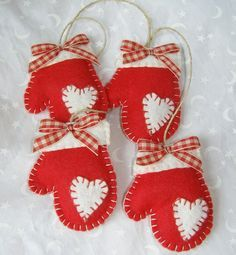 Image Detail For Felt Mittens Handmade Christmas Ornament By Paperbistro On Etsy