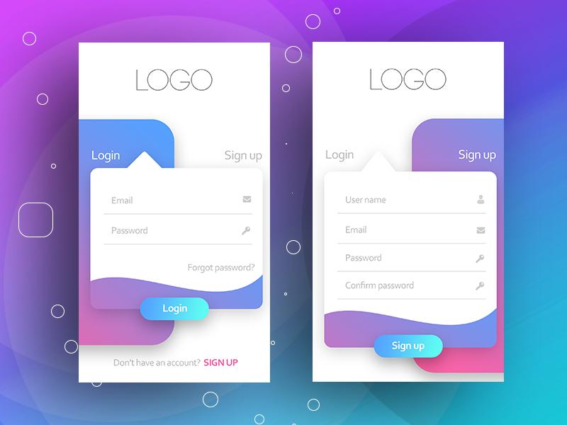 Login page mobileapps logos etc mobile ui design - Web application home page design ...