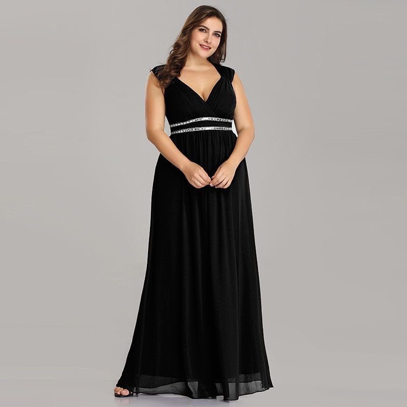 US Ever-Pretty Plus Size Bead V-Neck Formal Gown Sleeveless ...