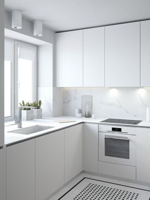 All white kitchen inspiration, with fingerpull doors and drawers ...