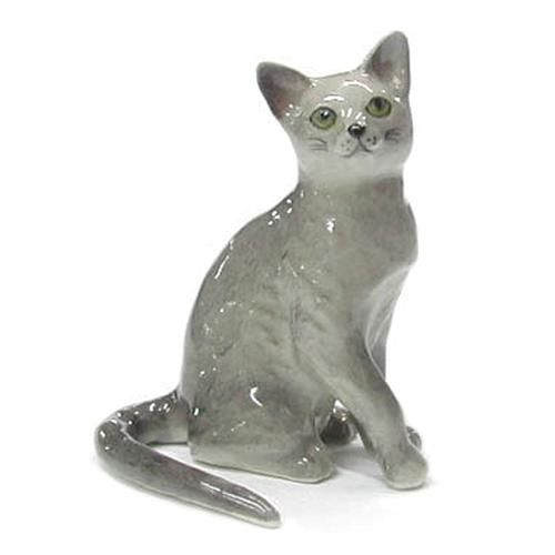 Northern Rose Russian Blue Porcelain Miniature Cat Figurine Russian Blue Cat Russian Blue Blue Cats