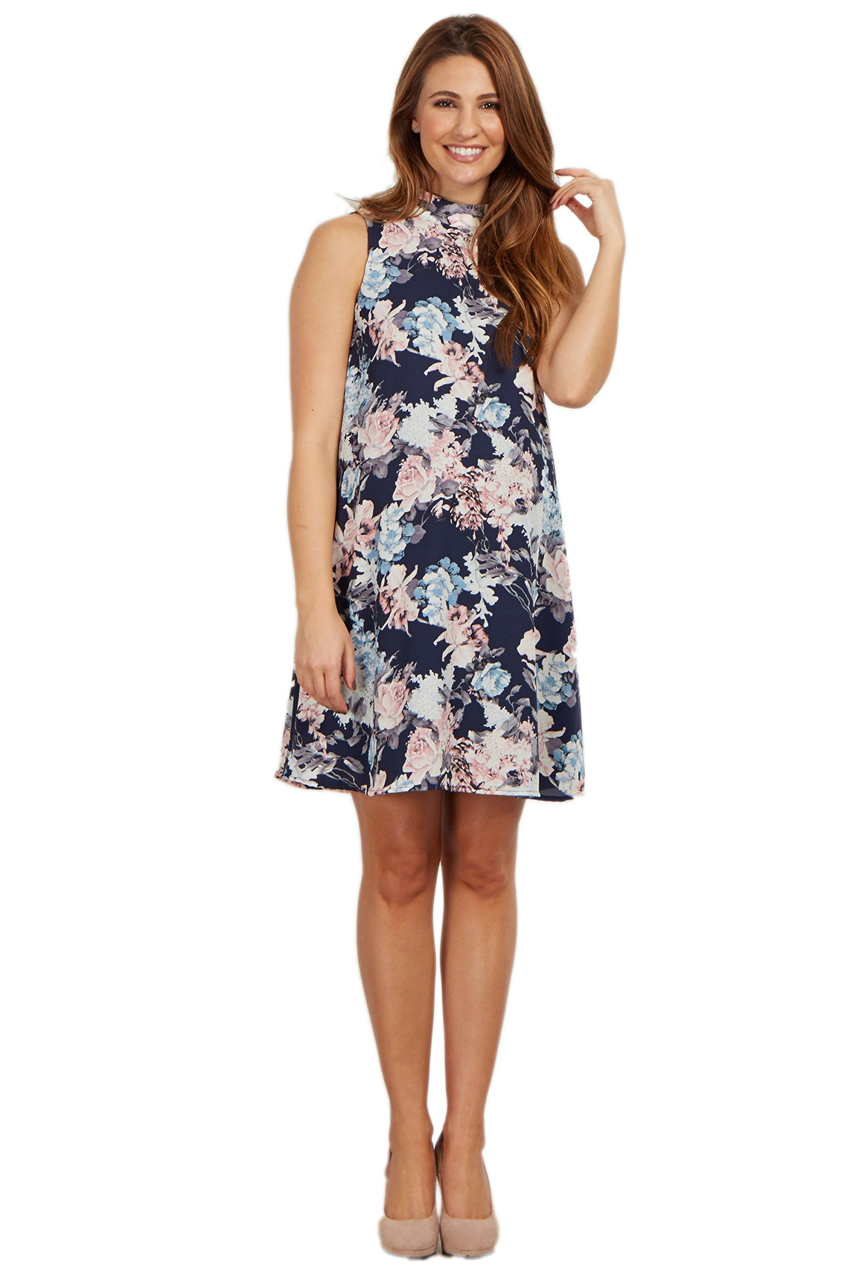 010b0422cee2b Maternity Dresses - PinkBlush Maternity Navy Floral Mock Neck Sleeveless  Dress XL *** You can get more details by clicking on the picture.