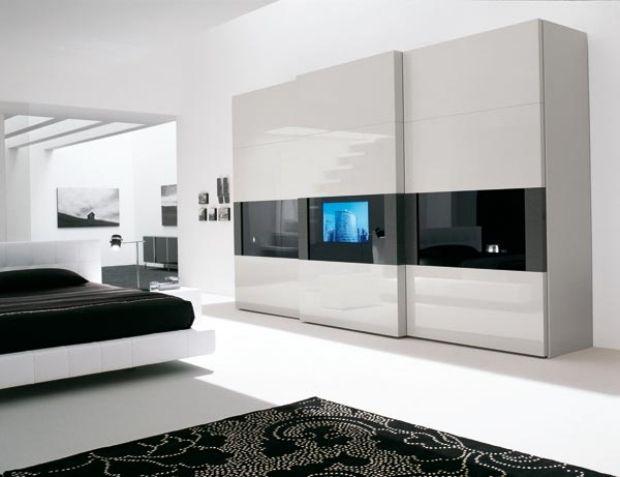 Schwebetürenschrank Hi Tech Wohnzimmer Wand Möbel Schwarz Weiß