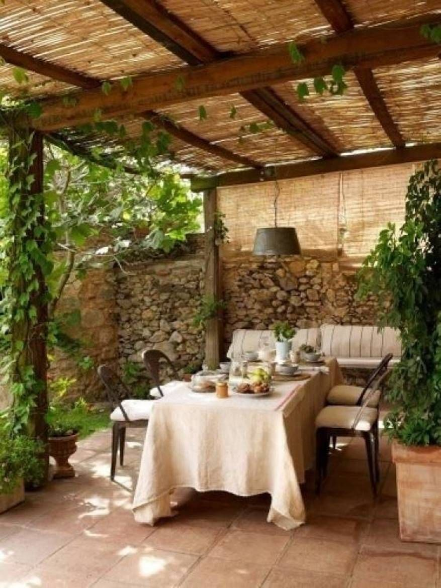 Landscaping And Outdoor Building , Natural Bamboo Pergola Roof ...