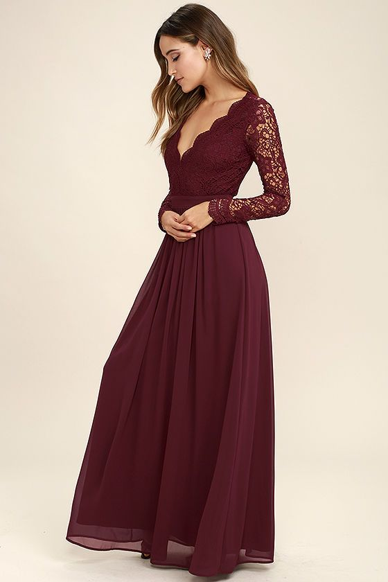 a609359004d8 Open your eyes to a world of beautiful possibilities in the Awaken My Love Burgundy  Long Sleeve Lace Maxi Dress! Crocheted lace elegantly graces the fitted ...