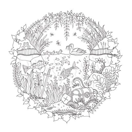 Artist Johanna Basford Enchanted Forest Coloring pages Garden Flower ...