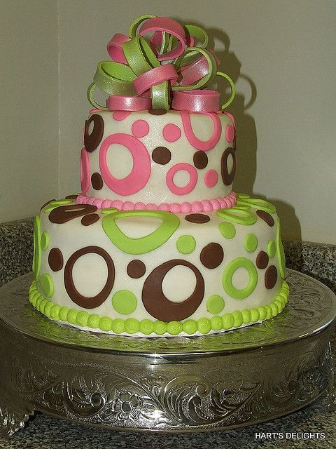 Lime Green And Hot Pink Birthday Cake