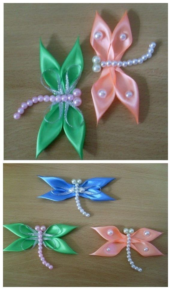 Kanzashi Dragonfly Ribbon Bead Craft Video Tutorial