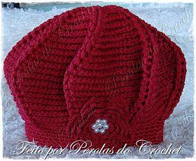 ccc40f5621720 Pérolas do Crochet  Boina em croche relevo Vermelha