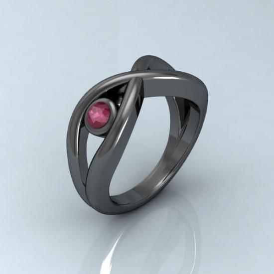 1e38fcf32f9b Anillo infinito de plata rodiada en negro con rubi